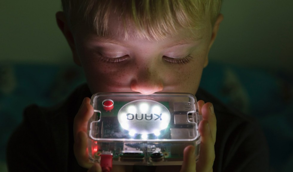 Child playing with Kano Computer Kit