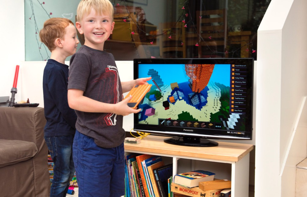 Kids playing with Kano Computer Kit